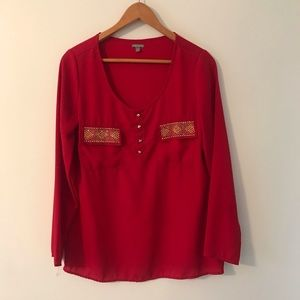 Red Sequined Blouse Size S